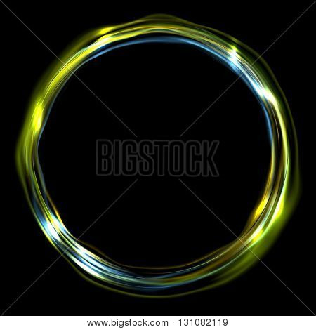 Colorful glossy iridescent ring circle background. Vector electric neon round circle shape design
