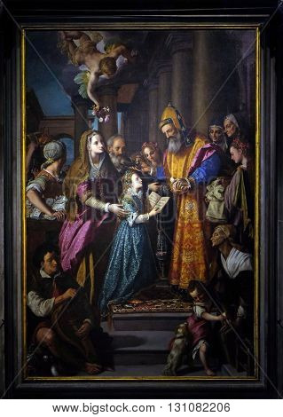 LUCCA, ITALY - JUNE 06, 2015: Altarpiece depicting Presentation of Mary to the temple, work by Alessandro Allori in Cathedral of St.Martin in Lucca, Italy, on June 06, 2015