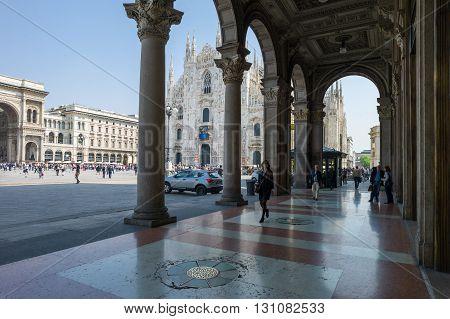 Milan Italy - April 21 2011: The shopping arcade in Piazza del Duomo