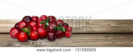 Fresh Forage Cranberries On A Wooden Table