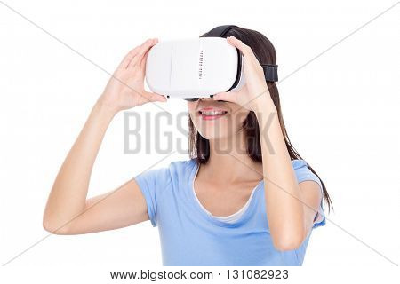 Woman experience with vr device
