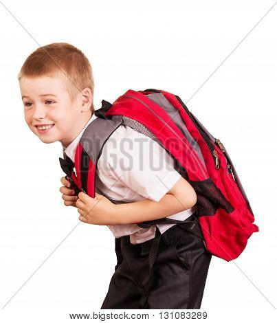 Lovely student with a heavy backpack isolated on white background.