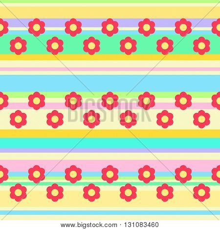 Seamless background with flowers and stripes in hippie style. Vector image.