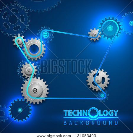 Cogged wheels belt background. Abstract poster with rotating gears and place for a text. Vector illustration.