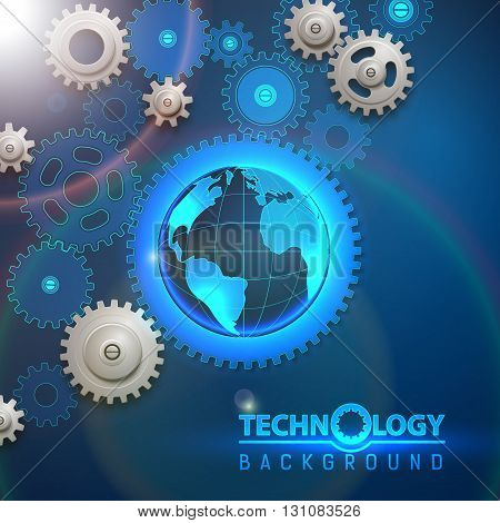 Earth cogged wheels background. Abstract poster with rotating gears and our planet. Vector illustration.