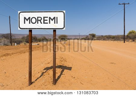 Sign post for the village of Moremi near Moremi Gorge in Botswana Africa