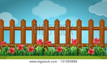 Scene with wooden fence in the garden illustration