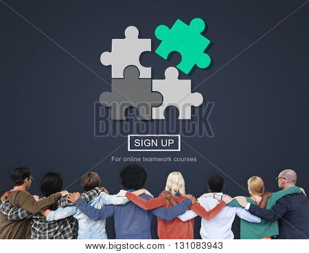 Strategy Puzzle Fit Jigsaw Match Solve Concept