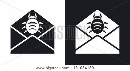 Vector infected email icon. Two-tone version on black and white background
