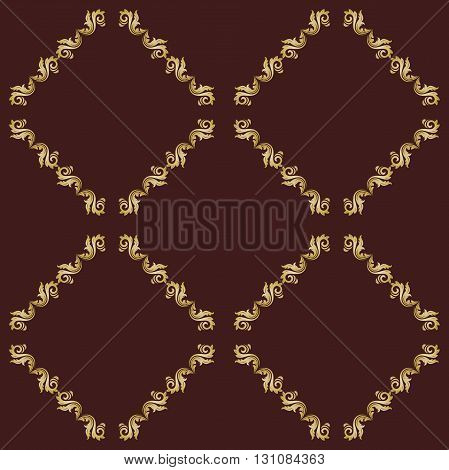 Seamless square golden ornament. Modern geometric pattern with repeating elements