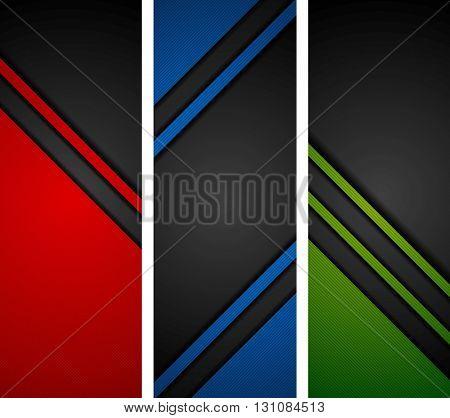 Abstract dark tech concept banners. Vector illustration design