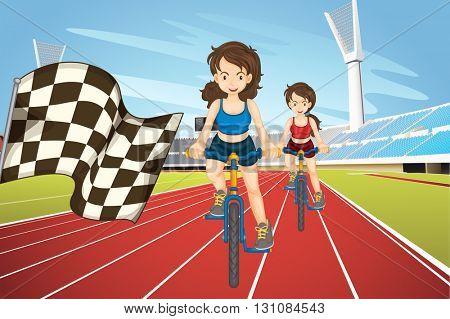 Women racing bike in the field illustration