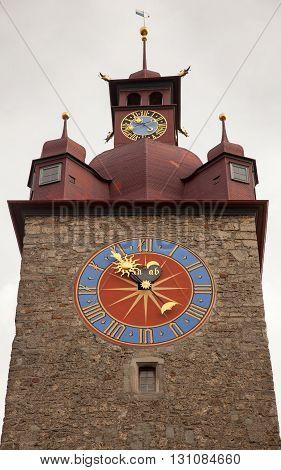 Clock tower downtown old Luzern (Lucerne) Switzerland