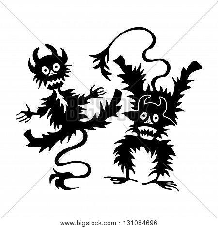 cartoon little devil or Imp - halloween vector illustration logo template