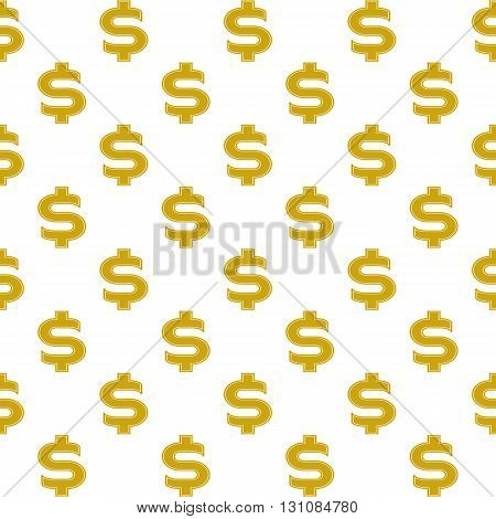 Seamless background with dollar sign gold . Vector image.