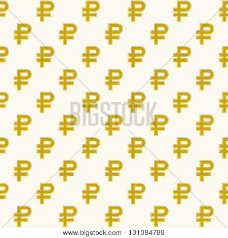 The Russian ruble symbol Golden color Seamless background. Vector illustration.