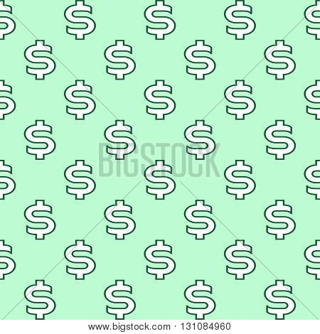 Seamless texture with dollar sign dark outline on a light green background. Vector image.