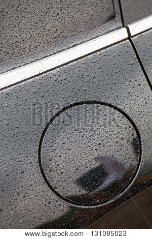 Close up shot of an closed fuel cap.