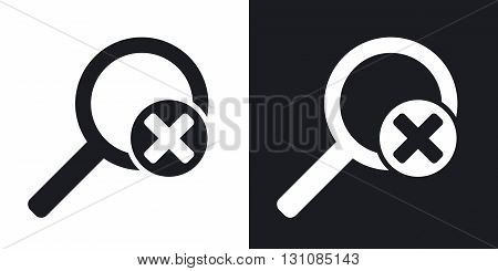 Vector magnifier icon with delete sign. Two-tone version on black and white background