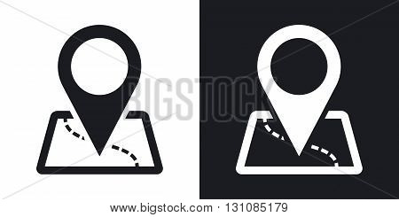 Vector map with pointer icon. Two-tone version on black and white background