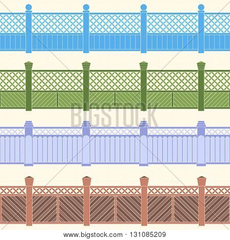 Seamless background with decorative fences of different types. Vector image.