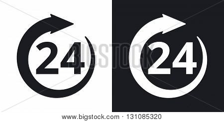 Vector open 24 hours sign. Two-tone version on black and white background