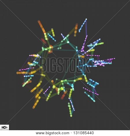 3D Connection Structure. Futuristic Technology Style. Composition with Motion Effect. Bokeh Effect. Vector illustration for Science, Chemistry or Education.