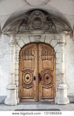 Traditional wooden door in Luzern (Lucerne) Switzerland