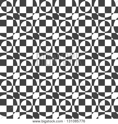 Seamless vector background with geometric pattern of circles and squares.