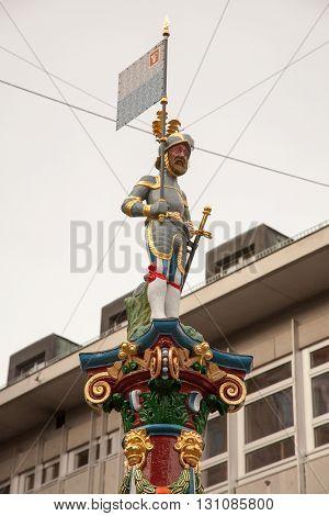 Swiss statue downtown old Luzern (Lucerne) Switzerland