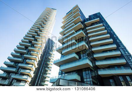 Milan Italy - January 24 2015: Porta Nuova the Three Residential Towers Solaria Solea and Aria