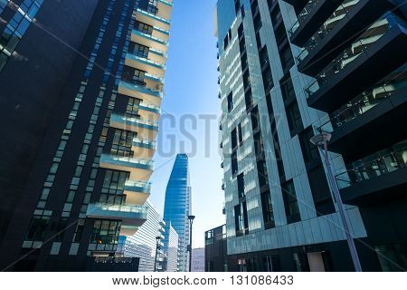 Milan Italy - January 24 2015: Porta Nuova the Residential Towers and the Diamond Tower in the background
