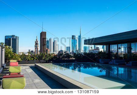 Milan Italy - January 25 2015: The Porta Nuova towers seen from the Ceresio 7 resort