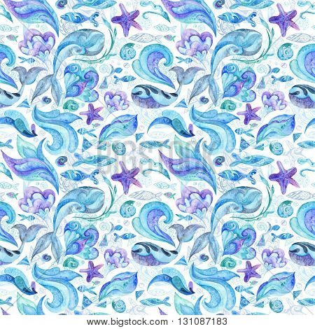 Nautical underwater texture with fishes, whales, starfishes, shells and waves isolated on white background for wallpaper and fabric design