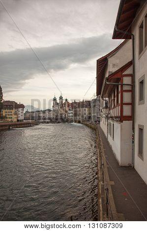 City views from downtown Luzern (Lucerne) Switzerland