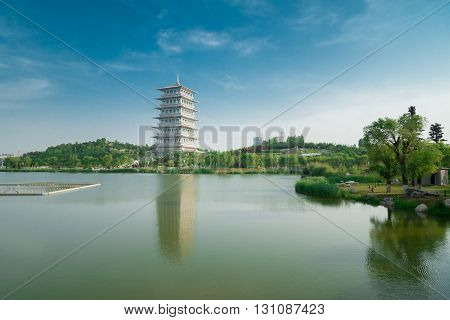 China, Shaanxi, Xi'an, Expo Park, architecture, landmark, Changan tower, East, Asia