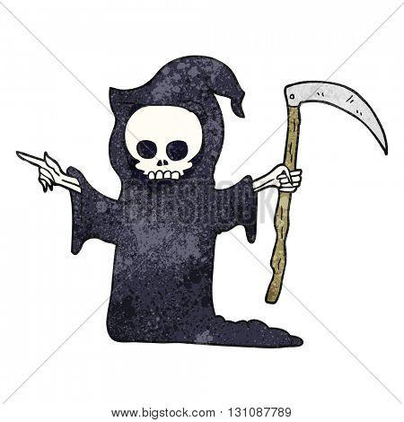 freehand textured cartoon death with scythe