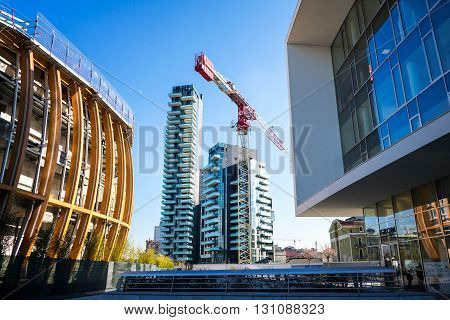 Milan Italy - January 26 2015: Porta Nuova the Tree Residential Towers seen from Aulenti square