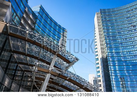 Milan Italy - January 26 2015: Porta Nuova foreshortening of the towers in Aulenti square