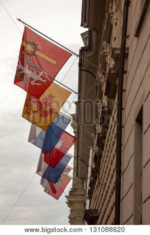 Swiss flags downtown old Luzern (Lucerne) Switzerland