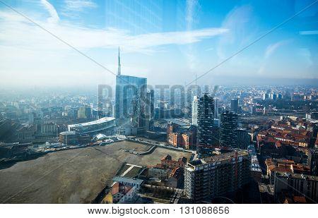 Milan Italy - February 8 2015: The Porta Nuova towers seen from Palazzo Lombardia inside