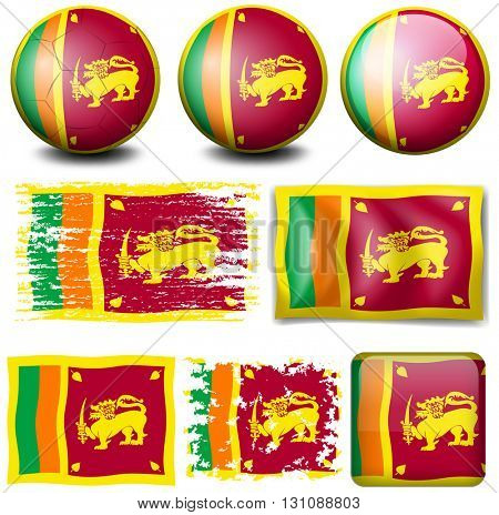 Sri Lanka flag on different objects illustration