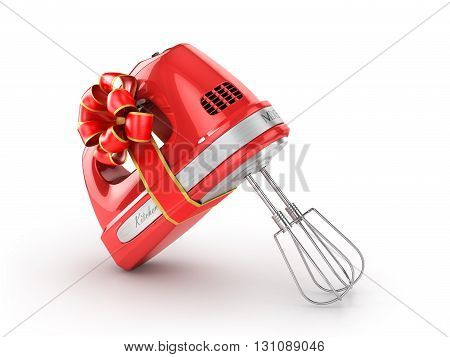 Kitchen appliances. Kitchen mixer in gift ribbon. 3d illustration