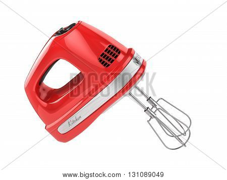 Red kitchen mixer isolated on a white background . 3d illustration