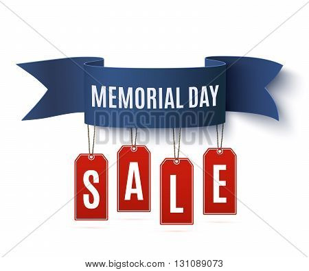 Big Memorial Day sale background template. Badge with blue ribbon and price tags, isolated on white background. Vector illustration.