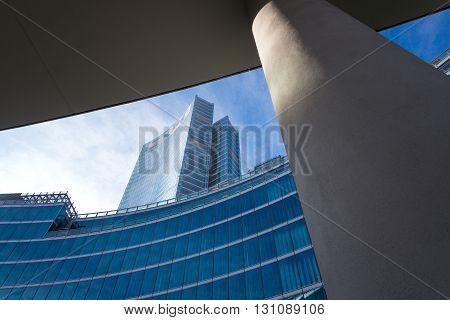 Milan Italy - February 8 2015: Porta Nuova the Palazzo Lombardia Towers