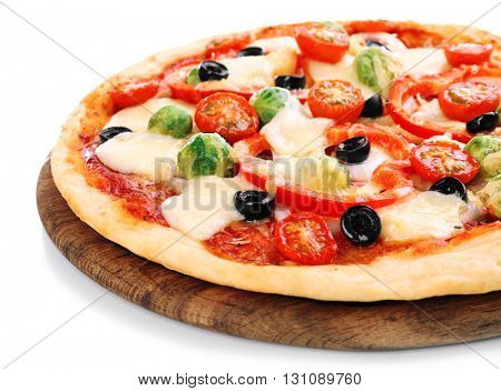 Delicious pizza with cheese and vegetables isolated on white