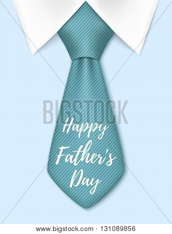 Happy Fathers Day, background with blue tie. Greeting card template. Vector illustration.