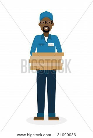 Delivery man with pizza boxes. Fast transportation. Isolated african american cartoon character on white background. Postman, courier with fresh pizza. Handsome smiling male chararcter.