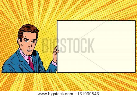 Pop art businessman with frame for text pop art retro vector. Advertising announcement message. Retro business